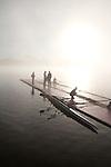 Rowing, Fog, Rowers, Launching racing shells; 2010 FISA World Rowing Championships; Lake Karapiro; Hamilton; New Zealand; November 4, 2010;