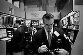 New York, New York.April 2, 2008 ..On the floor of the New York Stock Exchange as markets continue to swing at 100+ points a day up or down. The mortgage crisis is being played out on Wall Street investors and world's financial markets..