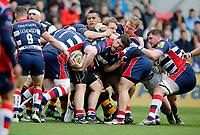 Photo: Richard Lane/Richard Lane Photography. Bristol Rugby v Wasps. Aviva Premiership. 16/04/2017. Bristol's  Marc Jones feeds the ball back.