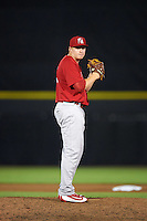 Palm Beach Cardinals relief pitcher Michael Heesch (55) gets ready to deliver a pitch during a game against the Dunedin Blue Jays on April 15, 2016 at Florida Auto Exchange Stadium in Dunedin, Florida.  Dunedin defeated Palm Beach 8-7.  (Mike Janes/Four Seam Images)