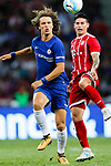 Chelsea Defender David Luiz (L) trips up with Bayern Munich Midfielder James Rodríguez (R) during the International Champions Cup match between Chelsea FC and FC Bayern Munich at National Stadium on July 25, 2017 in Singapore. Photo by Marcio Rodrigo Machado / Power Sport Images