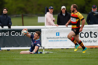 TRY - Rob Stevensen of London Scottish scores again during the Greene King IPA Championship match between London Scottish Football Club and Richmond at Richmond Athletic Ground, Richmond, United Kingdom on 27 April 2019. Photo by Carlton Myrie.