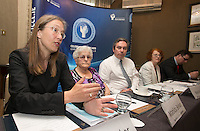 ***NO FEE PIC *** 13/06/2014 (L to R) Hilkka Becker Immigrant Council of Ireland Matilda Behan Survivors of Symphysiotomy Mark Kelly ICCL (Irish Council for Civil Liberties) Marie O Connor Survivors of Symphysiotomy Stephen O Hare ICCL (Irish Council for Civil Liberties) during the launch of the Civil Society Stakeholder Report tracking Ireland's record under the United Nations International Covenant on Civil and Political Rights at Buswell's hotel, Dublin. Photo: Gareth Chaney Collins