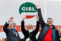 Carmelo Barbagallo UIL, Annamaria FurlanCISL e Maurizio Landini CGIL<br /> Rome February 9th 2019. Demonstration of the three Italian trade unions, CGIL, CISL, UIL.<br /> Foto Samantha Zucchi Insidefoto