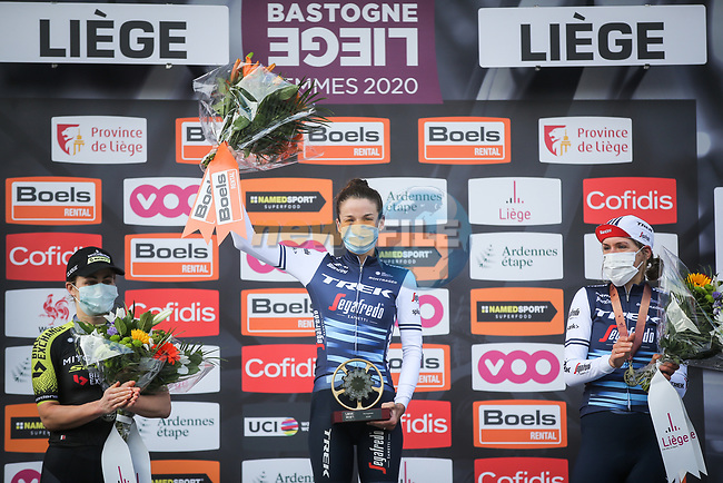 Elizabeth Deignan (GBR) Trek-Segafredo Women wins with Grace Brown (AUS) Mitchelton-Scott Women in 2nd and Ellen Van Dijk (NED) Trek-Segafredo Women 3rd place at the end of Liege-Bastogne-Liege Femmes 2020, running 135km from Liege to Liege, Belgium. 4th October 2020.<br /> Picture: ASO/Thomas Maheux | Cyclefile<br /> All photos usage must carry mandatory copyright credit (© Cyclefile | ASO/Thomas Maheux)
