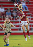 NWA Democrat-Gazette/BEN GOFF @NWABENGOFF<br /> Parker Goins, Arkansas forward, wins a header over Grace Jackson, Vanderbilt midfielder, in the first half Thursday, Sept. 26, 2019, at Razorback Field in Fayetteville.