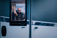 Sven Nys in his son's Thibau camper ahead of his very first World Championships <br /> <br /> Men's Junior race<br /> <br /> UCI 2019 Cyclocross World Championships<br /> Bogense / Denmark<br /> <br /> ©kramon