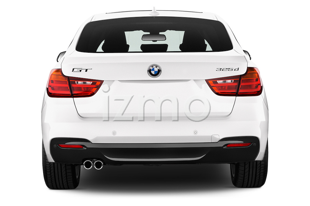 Straight rear view of a 2015 BMW 3 Series M Sport 5 Door Hatchback 2WD Rear View  stock images