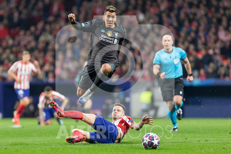 MADRID, SPAIN - FEBRUARY 18: Roberto Firmino of Liverpool and Saul Niguez of Atletico de Madrid in action during the UEFA Champions League football match, round 16, played between Atletico de Madrid and Liverpool FC at Wanda Metropolitano stadium on February 18, 2020 in Madrid, Spain.<br /> (ALTERPHOTOS/David Jar)