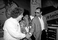 Jean Charest, Sonia Benezra, Moses Znaimer, a Musique plus, 26 Juin 1987             .              <br /> <br /> PHOTO : Pierre Roussel -  Agence Quebec Presse