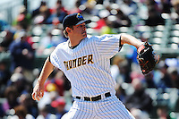 Trenton Thunder pitcher Caleb Cotham (35) during game against the Richmond Flying Squirrels at ARM & HAMMER Park on April 14 2013 in Trenton, NJ.  Trenton defeated Richmond 15-1.  (Tomasso DeRosa/Four Seam Images)