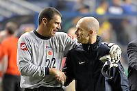 Colombia (COL) goalkeeper Faryd Mondragon (22) talks with United States (USA) head coach Bob Bradley after the game. The men's national teams of the United States (USA) and Colombia (COL) played to a 0-0 tie during an international friendly at PPL Park in Chester, PA, on October 12, 2010.