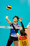 Haruyo Shimamura of Japan (L) attacks during the match between China and Japan on May 30, 2018 in Hong Kong, Hong Kong. (Photo by Power Sport Images/Getty Images)