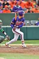 Clemson Tigers third baseman Patrick Cromwell (25) swings at a pitch during a game against the Notre Dame Fighting Irish at Doug Kingsmore Stadium on March 11, 2017 in Clemson, South Carolina. The Tigers defeated the Fighting Irish 6-5. (Tony Farlow/Four Seam Images)
