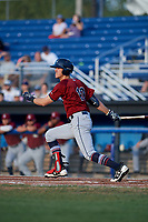 Mahoning Valley Scrappers designated hitter Nolan Jones (10) hits a double during a game against the Batavia Muckdogs on August 18, 2017 at Dwyer Stadium in Batavia, New York.  Mahoning Valley defeated Batavia 8-2.  (Mike Janes/Four Seam Images)