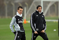 FAO SPORTS PICTURE DESK<br /> Pictured L-R: Chelsea loan Josh McEachran and Federico Bessone. Tuesday 17 January 2012<br /> Re: Premier League side Swansea City Football Club training in Llandarcy, south Wales.