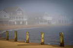 West Warf, Madison, CT. Middle Beach area. Pylons, fog and shoreline homes.