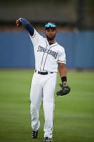 Charlotte Stone Crabs Manny Sanchez (17) warms up before a game against the Palm Beach Cardinals on April 11, 2017 at Charlotte Sports Park in Port Charlotte, Florida.  Palm Beach defeated Charlotte 12-6.  (Mike Janes/Four Seam Images)