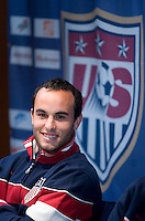 USA's Landon Donovan speaks to reporters during a news conference in Hamburg, Germany, for the 2006 World Cup, June, 8, 2006.
