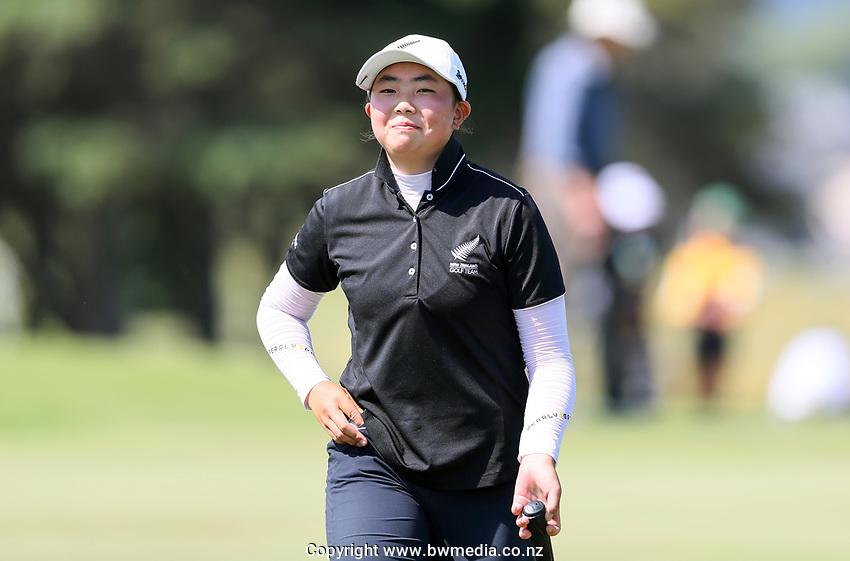 Fiona Xu wins her semi final mathup against Momoka Kobori during the New Zealand Amateur Golf Championship, Poverty Bay Golf Course, Awapuni Links, Gisborne, Saturday 24 October 2020. Photo: Simon Watts/www.bwmedia.co.nz
