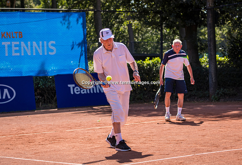 Hilversum, The Netherlands,  August 21, 2020,  Tulip Tennis Center, NKS, National Senior Tennis Championships, Men's single 80+, Men's doubles: Lubbert Buytenhuis (NED) and Roel Lubberts (NED)<br /> Photo: Tennisimages/Henk Koster