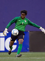 Briana Scurry on a goal kick. USA defeated Brazil 2-0 at Giants Stadium on Sunday, June 23, 2007.
