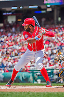 21 June 2015: Washington Nationals outfielder Denard Span in action against the Pittsburgh Pirates at Nationals Park in Washington, DC. The Nationals defeated the Pirates 9-2 to sweep their 3-game weekend series, and improve their record to 37-33. Mandatory Credit: Ed Wolfstein Photo *** RAW (NEF) Image File Available ***