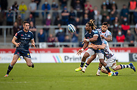 28th May 2021; AJ Bell Stadium, Salford, Lancashire, England; English Premiership Rugby, Sale Sharks versus Bristol Bears;  Marland Yarde of Sale Sharks releases to Luke James of Sale Sharks