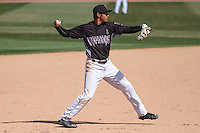 Wisconsin Timber Rattlers shortstop Jake Gatewood (2) throws to first between innings of a game against the Peoria Chiefs on April 25th, 2015 at Fox Cities Stadium in Appleton, Wisconsin.  Wisconsin defeated Peoria 2-0.  (Brad Krause/Four Seam Images)