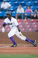 Justin Greene #2 of the Winston-Salem Dash follows through on his swing versus the Frederick Keys at Wake Forest Baseball Stadium August 8, 2009 in Winston-Salem, North Carolina. (Photo by Brian Westerholt / Four Seam Images)