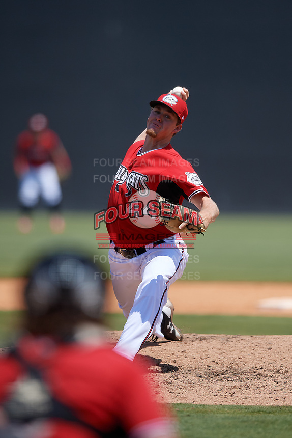 Carolina Mudcats pitcher Chad Whitmer (44) during a Carolina League game against the Winston-Salem Dash on August 14, 2019 at Five County Stadium in Zebulon, North Carolina.  Winston-Salem defeated Carolina 4-2.  (Mike Janes/Four Seam Images)