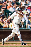 12 April 2008: #21 John Bowker of the Giants hits an homerun to right in the 6th inning during the St. Louis Cardinals 8-7 victory over the San Francisco Giants at the AT&T Park in San Francisco, CA.