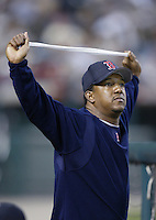 Pedro Martinez of the Boston Red Sox before a 2002 MLB season game against the Los Angeles Angels at Angel Stadium, in Anaheim, California. (Larry Goren/Four Seam Images)