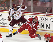 Scott Savage (BC - 28), Frankie Simonelli (Wisconsin - 27) - The Boston College Eagles defeated the visiting University of Wisconsin Badgers 9-2 on Friday, October 18, 2013, at Kelley Rink in Conte Forum in Chestnut Hill, Massachusetts.