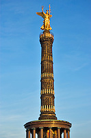 Germany, Berlin. Siegessaeule, Victory, statue and column 67m tall in Grossestern.  Designed by Johann Heinrich Strack.