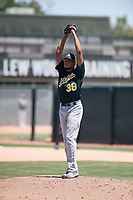 Oakland Athletics relief pitcher Jaimito Lebron (38) prepares to deliver a pitch during an Extended Spring Training game against the San Francisco Giants Orange at the Lew Wolff Training Complex on May 29, 2018 in Mesa, Arizona. (Zachary Lucy/Four Seam Images)