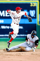 July 24 2008:  Kyle Higgins of the Spokane Indians, Short Season Class-A affiliate of the Texas Rangers, during a game at Home of the Avista Stadium in Spokane, WA.  Photo by:  Matthew Sauk/Four Seam Images