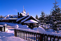 Snow Covered Deer Lodge at Lake Louise, Banff National Park, Alberta, Canada - Winter