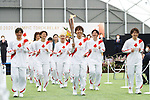 Members of the Japan's 2011 World Cup winning women's football team participate in The Grand Start Ceremony for the Tokyo 2020 Olympic Torch Relay at Fukushima National Training Center J-Village on March 25, 2021, in Fukushima Prefecture, Japan. The Torch Relay will last 121 days and visit all of Japan's 47 prefectures.  (Photo by Naoki Morita/AFLO SPORT)
