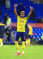 28th September 2021; Cardiff City Stadium, Cardiff, Wales;  EFL Championship football, Cardiff versus West Bromwich Albion; Grady Diangana of West Bromwich Albion give thumbs up to the travelling supporters