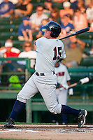 First Baseman Hunter Morris #15 of the Brevard County Manatees at bat during the game against the Daytona Beach Cubs at Jackie Robinson Ballpark on April 9, 2011 in Daytona Beach, Florida. Photo by Scott Jontes / Four Seam Images