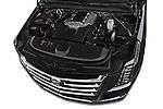Car Stock 2015 Cadillac Escalade Premium 5 Door SUV 2WD Engine high angle detail view
