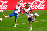 Spain's Gerard Deulofeu (l) and Pedro Rodriguez during training session. March 23,2017.(ALTERPHOTOS/Acero)