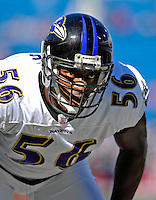 21 October 2007: Baltimore Ravens linebacker Gary Stills warms up prior to a game against the Buffalo Bills at Ralph Wilson Stadium in Orchard Park, NY. The Bills defeated the Ravens 19-14 in front of 70,727 fans marking their second win of the 2007 season...Mandatory Photo Credit: Ed Wolfstein Photo