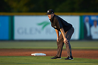 Umpire Kenny Jackson handles the calls at second base during the Appalachian League game between the Johnson City Cardinals and the Burlington Royals at Burlington Athletic Stadium on September 3, 2019 in Burlington, North Carolina. The Cardinals defeated the Royals 7-2 to even Appalachian League Championship series at one game a piece. (Brian Westerholt/Four Seam Images)