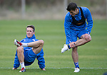 St Johnstone Training…..21.10.16<br />Chris Millar and Michael Coulson pictured during training ahead of Sunday's game against local rivals Dundee<br />Picture by Graeme Hart.<br />Copyright Perthshire Picture Agency<br />Tel: 01738 623350  Mobile: 07990 594431