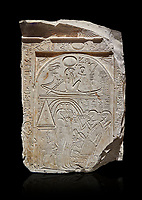 "Ancient Egyptian stele of sculptor Qen, limestone, New Kingdom, 19th Dynasty, (1279-1213 BC), Deir el-Medina, Old Fund cat 1635. Egyptian Museum, Turin. black background<br /> <br /> This stele belongs to the ""painter of outlines' and sculptor Qen who lived in the reign of Ramesses II. It depicrs a funeral celebration for him infront of funerary chapel with his sond Meryre and Huy, who are performing the ""ceremony of Opening of the Mouth"". His daughter Taqri is depicted grieving over the loss of her father. The chapel is summounted by a Pyramidion."