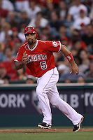 Albert Pujols #5 of the Los Angeles Angels runs the bases against the Seattle Mariners at Angel Stadium on June 5, 2012 in Anaheim,California. Los Angeles defeated Seattle 6-1.(Larry Goren/Four Seam Images)