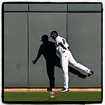 Tony Dibrell (8) of the Columbia Fireflies stretches on the center field wall during his warmups before a game against the Charleston RiverDogs in which he set a Fireflies single-season strikeout record of 138 on Tuesday, August 28, 2018, at Spirit Communications Park in Columbia, South Carolina. Columbia won, 11-2. (Tom Priddy/Four Seam Images)