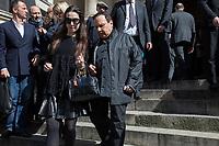 AZZEDINE ALAIA - Obsèques de Maria Luisa Poumaillou en l'église Saint-Roch à Paris. Le 14 avril 2015